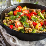 {Recipe} Veggie Loaded Pasta with Garlic & Greens {Vegan, Gluten Free}